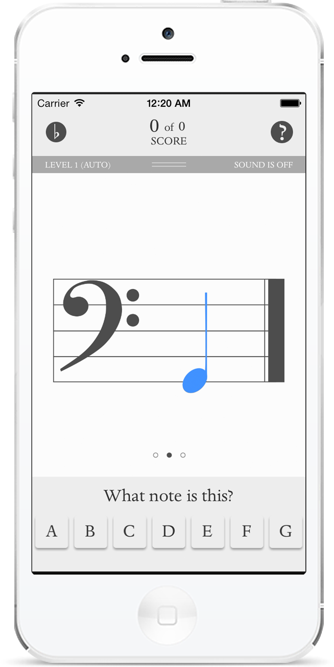 Music flashcards, G bass note
